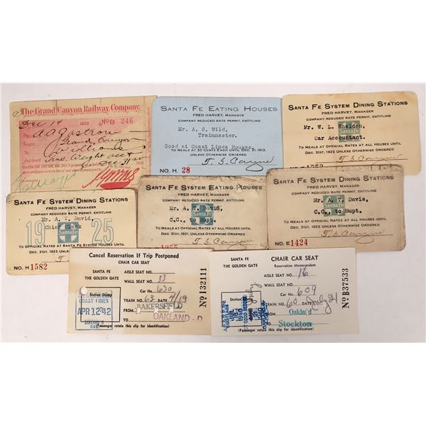Grand Canyon Railway/Fred Harvey Santa Fe System Passes  [132608]