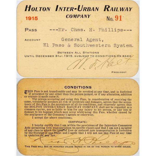 Holton Inter-Urban Railway Co. Annual Pass   [138842]