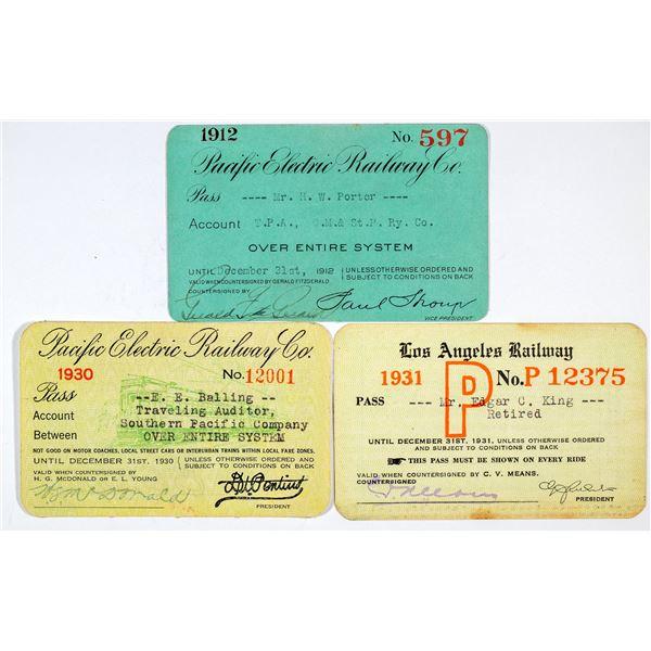 Los Angeles Area Railroad Pass Trio  [138866]