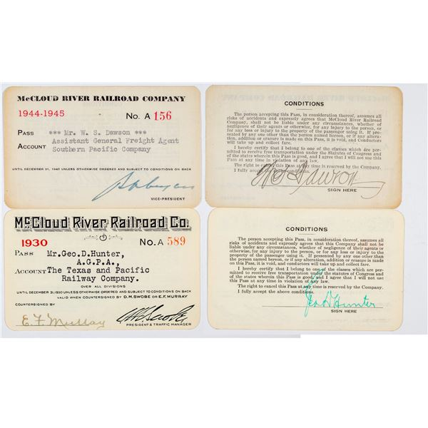 McCloud River Railroad Company Annual Pass Pair  [138877]