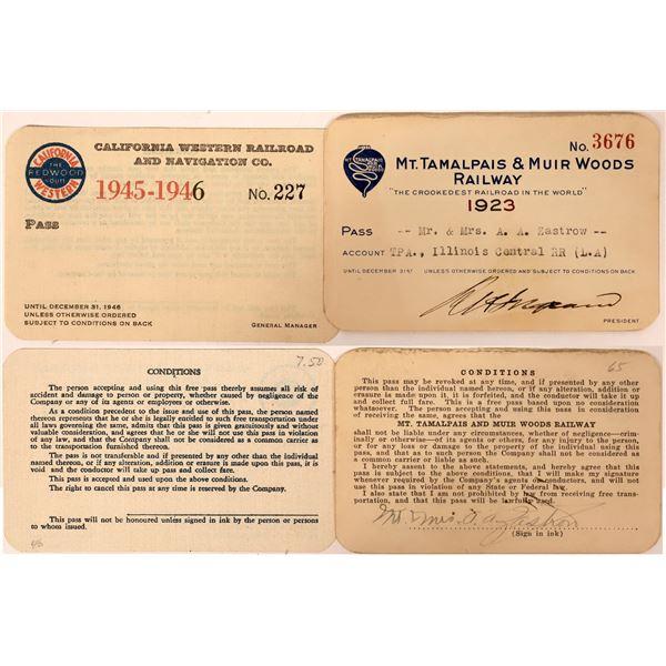 Mt. Tamalpais & Muir Woods Railway/California Western Railroad Passes  [132623]