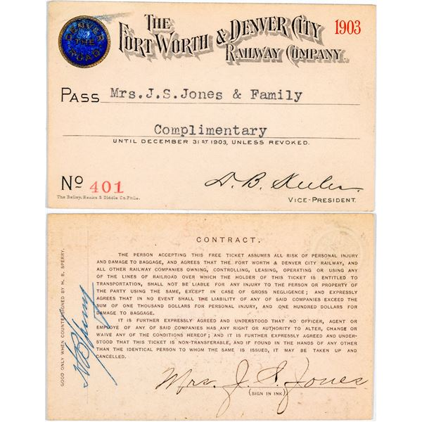 Forth Worth & Denver City Railway Company Annual Pass  [138850]
