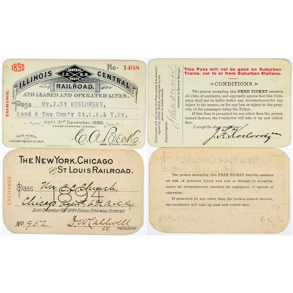 "Two 1890s ""Big Name"" Rail Passes  [138844]"