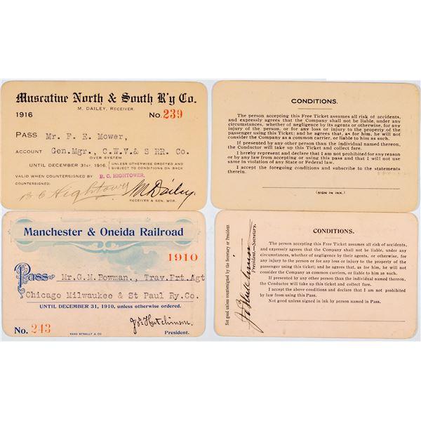Iowa Railroad Annual Pass Pair: Muscatine and Manchester & Oneida  [138843]