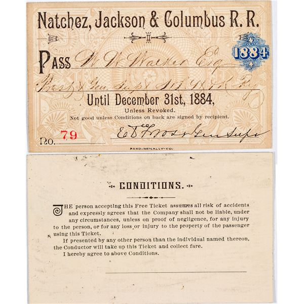 Natchez, Jackson & Columbus Railroad Annual Pass  [138876]