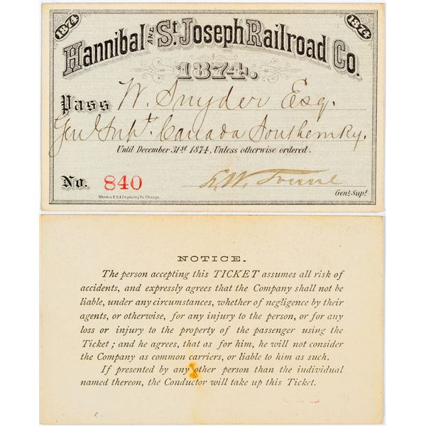 Hannibal and St. Joseph Railroad Co. Pass  [138887]