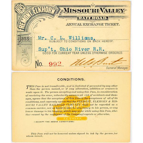 Fremont, Elkhorn & Missouri Valley Railroad Annual Pass  [138852]
