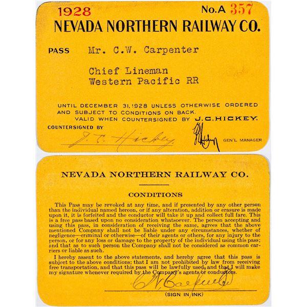 Nevada Northern Railway Company Annual Pass  [138875]
