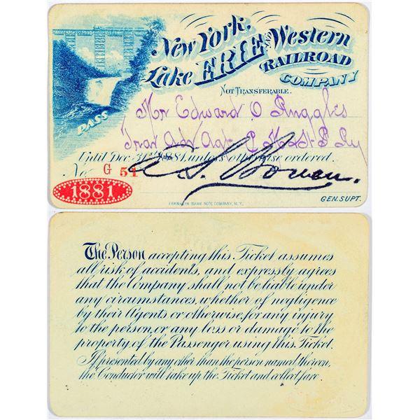 New York, Lake Erie, & Western Railroad Company Annual Pass  [138874]