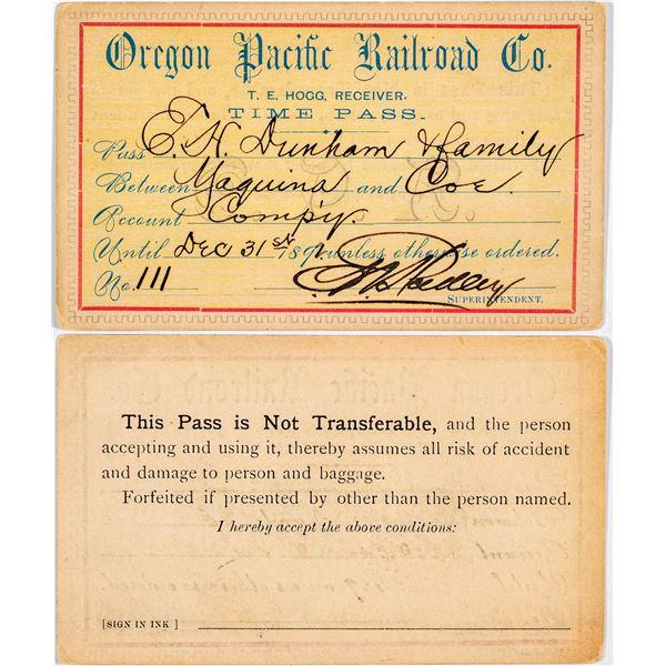 Oregon Pacific Railroad Company Annual Pass  [138869]