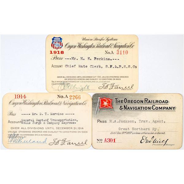 Oregon Railroad & Navigation Company Annual Passes  [138867]