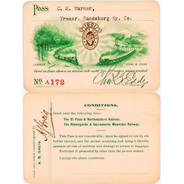 El Paso & Northeastern Railway/Alamogordo & Sacramento Mountain Railway Pass  [138893]