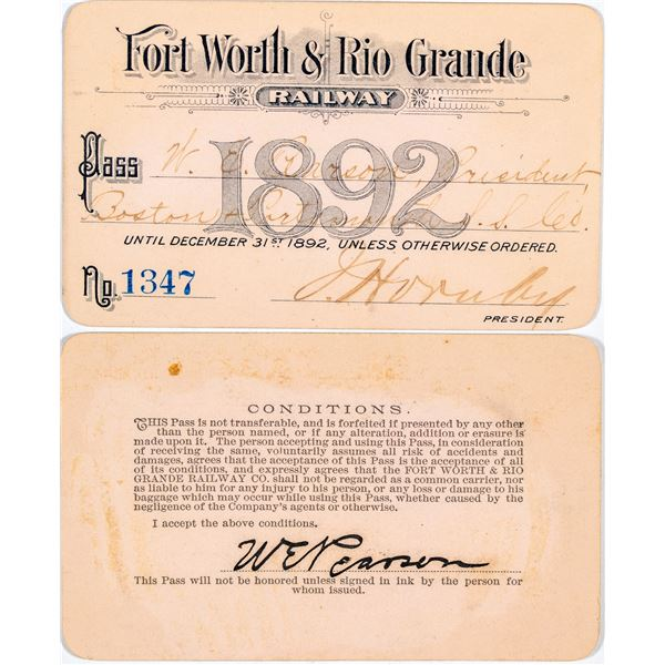 Fort Worth & Rio Grande Railway Annual Pass  [138851]