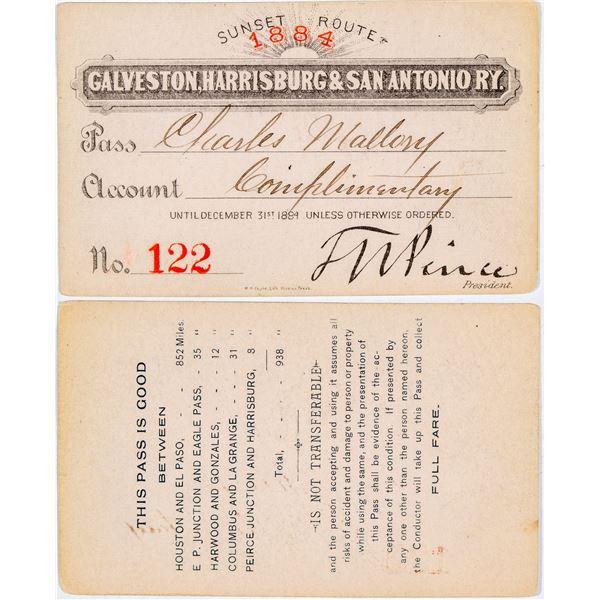 Galveston, Harrisburg, & San Antonio Railway Annual Pass  [138853]