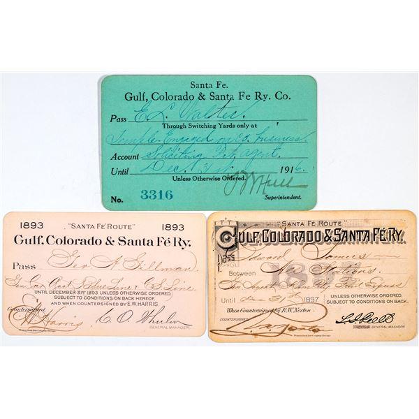 Gulf, Colorado & Santa Fe Railway Co. Annual Pass Trio  [138857]
