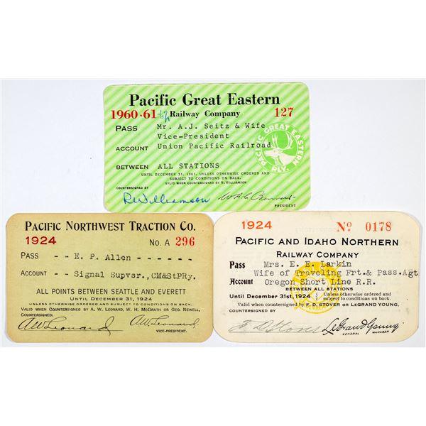 "Three Different ""Pacific"" Railroad Annual Passes  [138859]"
