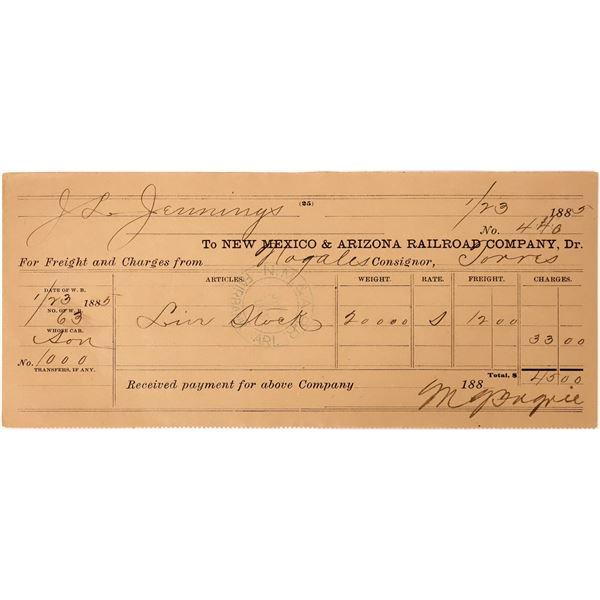 New Mexico & Arizona Railroad Company Cattle Receipt  [137571]