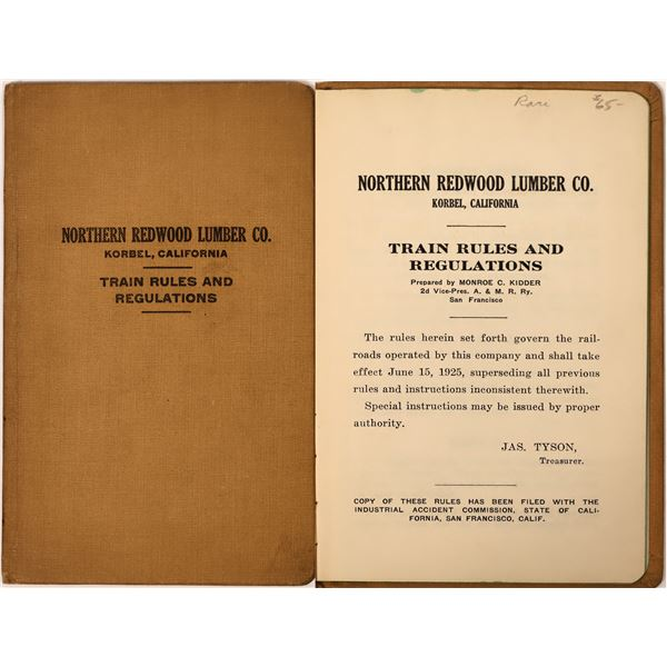 Northern Redwood Lumber Company Train Rules and Regulations Guide Book  [132689]