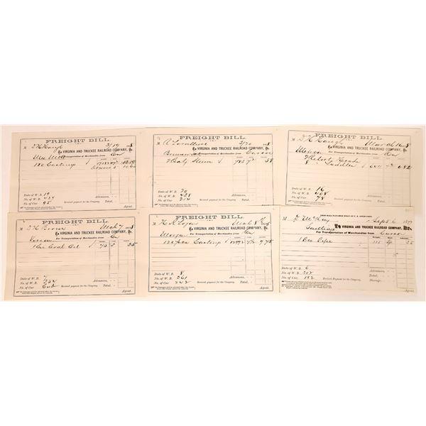 Virginia & Truckee Railroad Freight Bills for Comstock Mills  [135273]