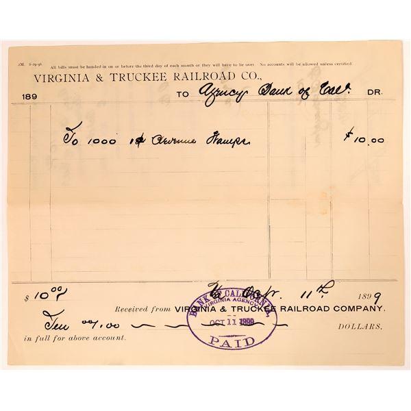Virginia & Truckee Railroad Receipt for Revenue Stamps  [135267]