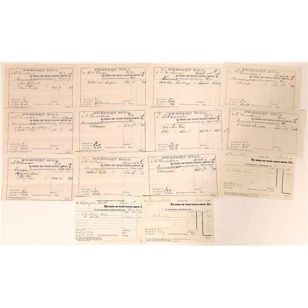 Virginia & Truckee Railroad Receipts for Comstock Mills  [135272]