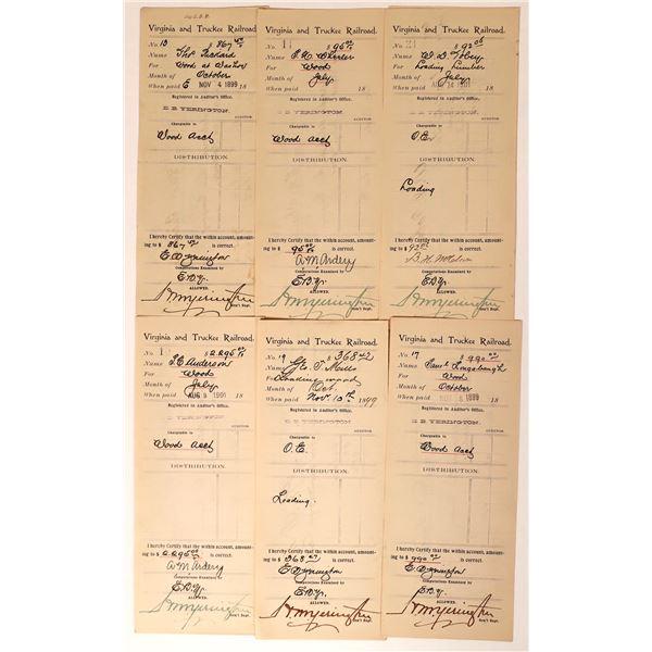 Virginia & Truckee Railroad Receipts for Wood  [135276]