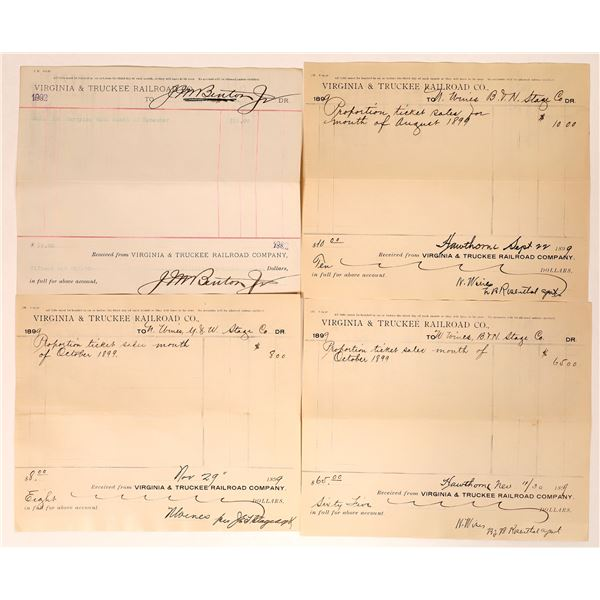 Virginia & Truckee Railroad Receipts to Western Stage Companies  [135277]