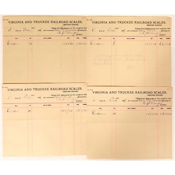 Virginia & Truckee Railroad Scales Receipts for Hale & Norcross Mine  [135268]