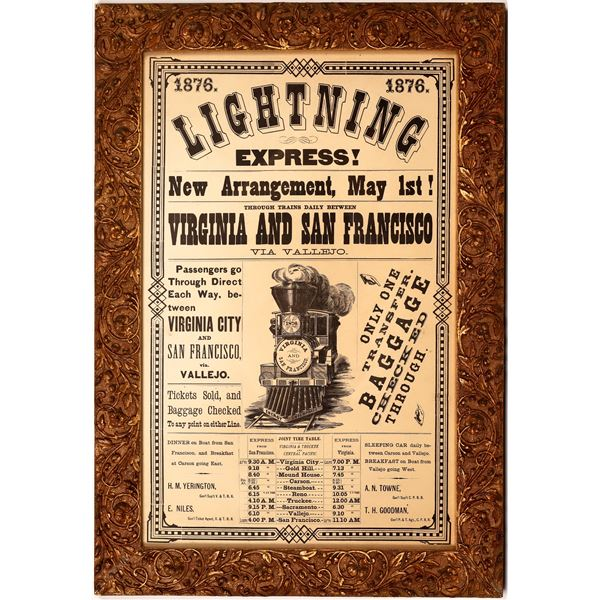 Virginia and Truckee Railroad / CPRR Reproduction Broadside with Fancy Frame  [137509]