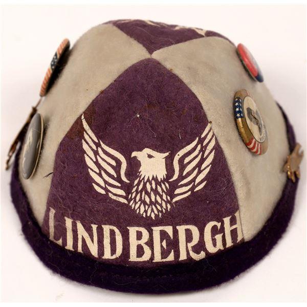 Spectacular Souvenir Cap Commemorating Lindbergh Flight from NY to Paris  [137429]