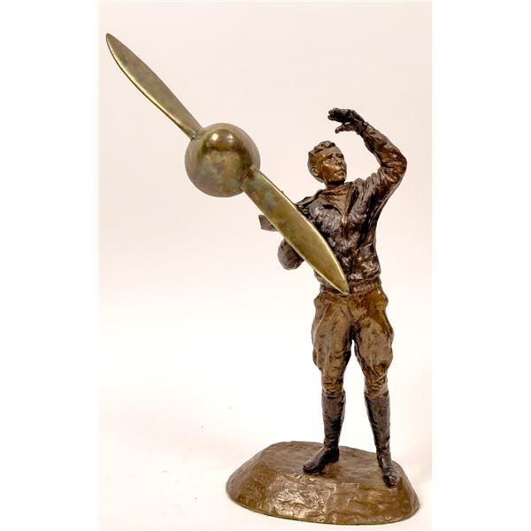 Bronze Statue of Charles Lindbergh by Mark Hopkins, 1996  [137434]
