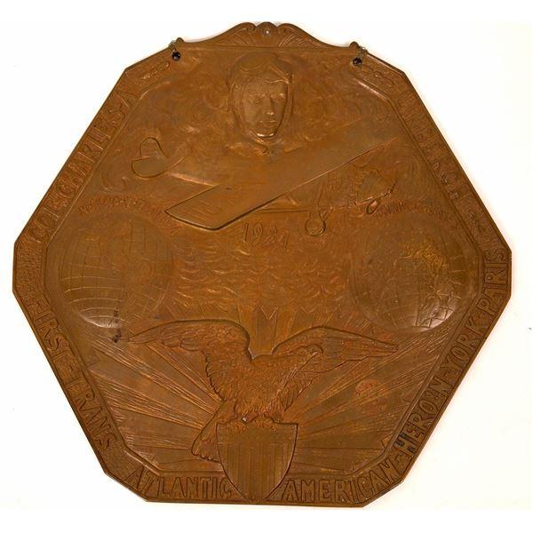 Gutzwa Relief Bronze Plaque of Charles Lindbergh  [137472]