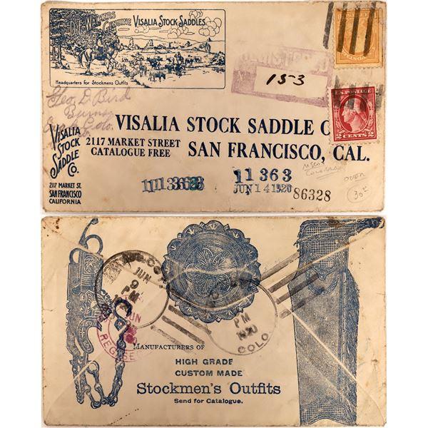Visalia Stock Saddle Company Postal Cover  [135234]