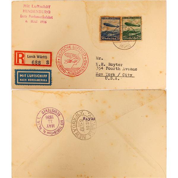 Deutsche Luftpost Europa-Nordamerika Zeppelin Postal Cover  [132633]