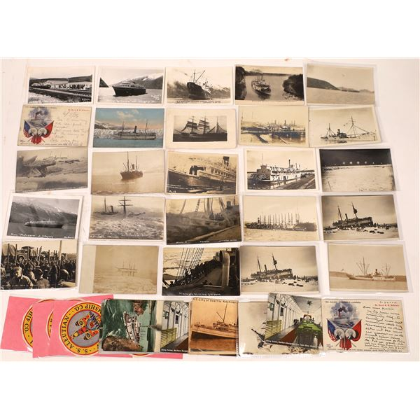 Ship and Steamship Themed Postcard Collection, c1900-1910  [137775]