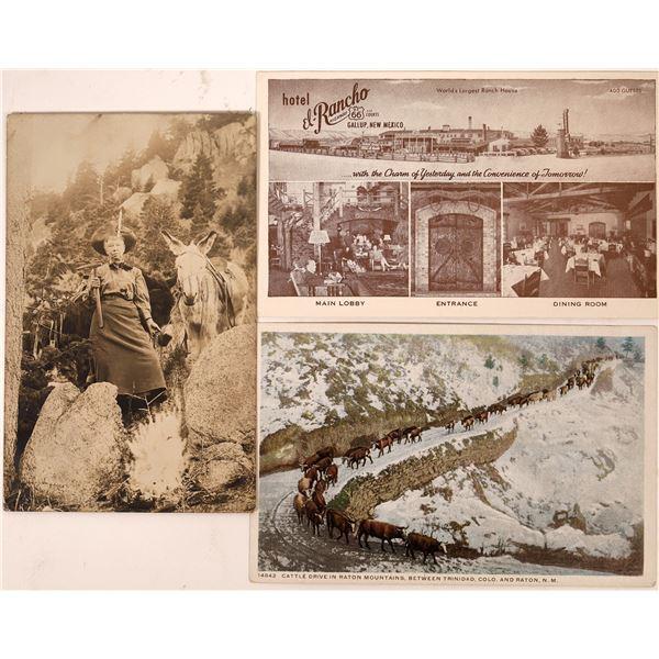 Real Photo Postcard of Mrs. Captain Jack Plus Two Bonus Cards  [134211]