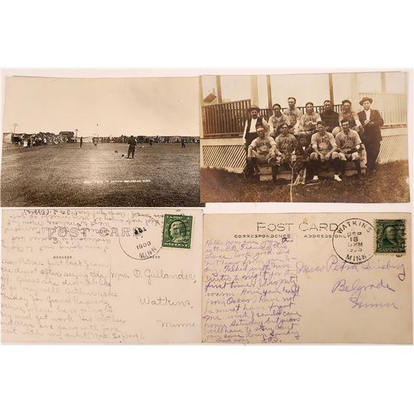 Early Baseball Postcards: Belgrade and Watkins, Minnesota (2)  [136090]