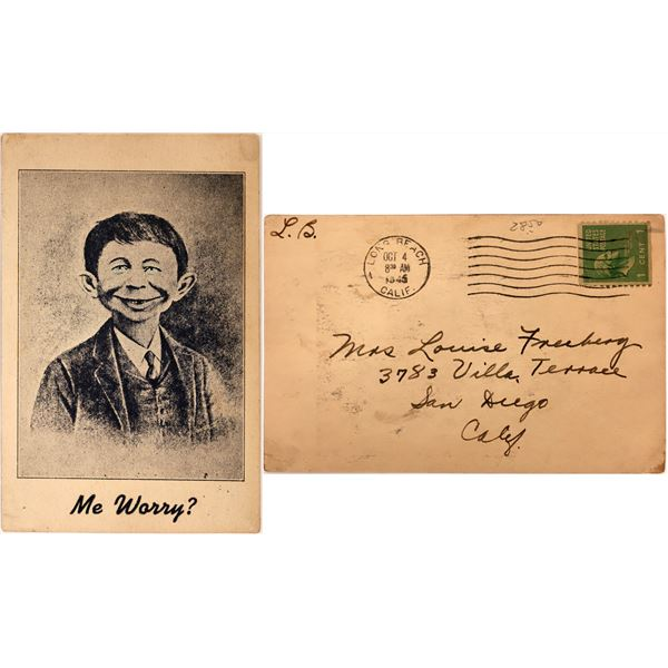 "Alfred E. Neuman ""Me Worry?"" Postcard  [137586]"