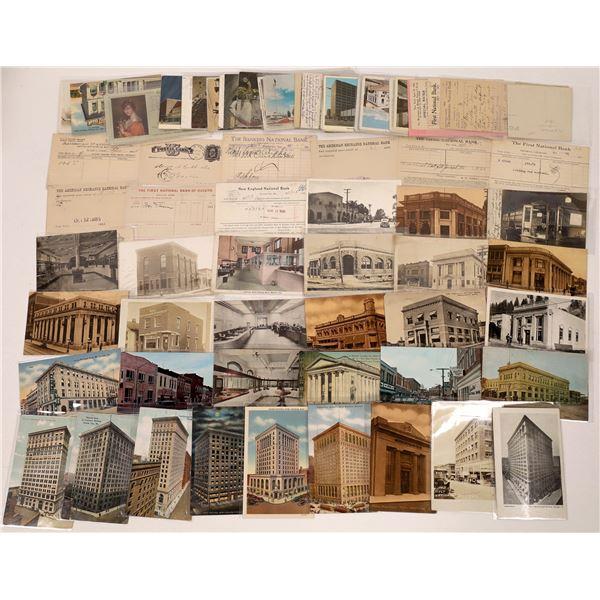 Bank Building Postcards and Ephemera ~ 71 pcs  [137669]