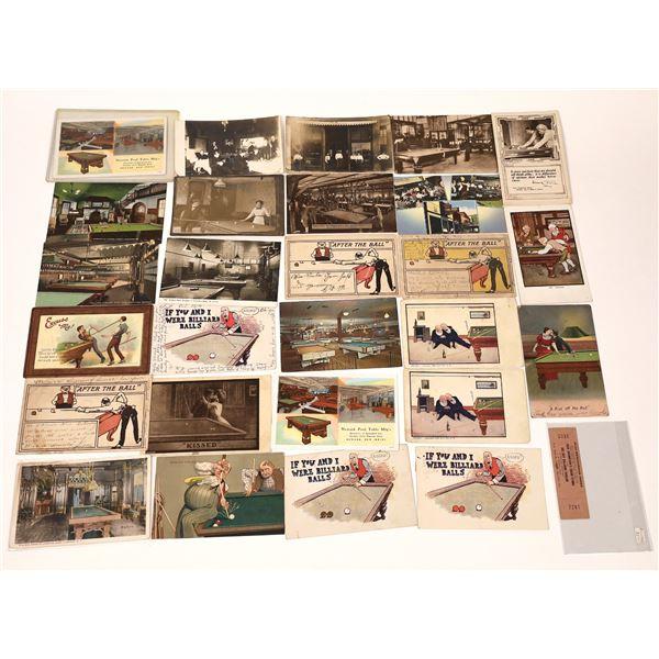 Billiard and Pool Hall Postcard Collection  [137934]