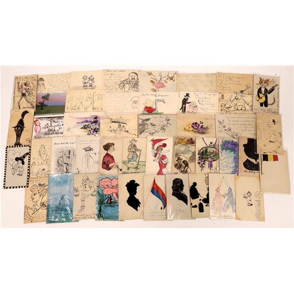 Hand-Drawn Art Postcards ~40  [137663]