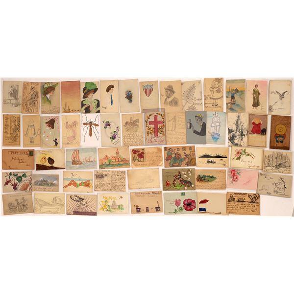 Hand-Drawn Art Postcards ~50  [125866]