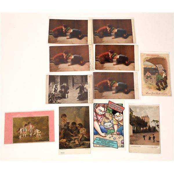 Marble Shooting Vintage Postcards  [137953]