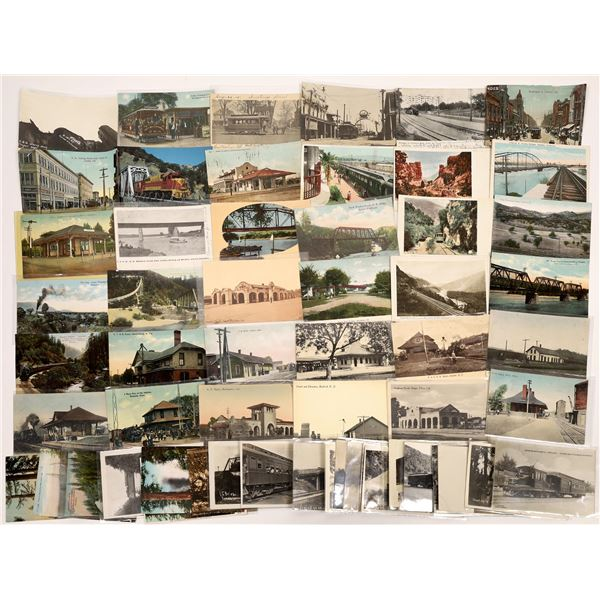 Trains, Trestles, Trolleys, and Depot Postcards (50)  [136452]