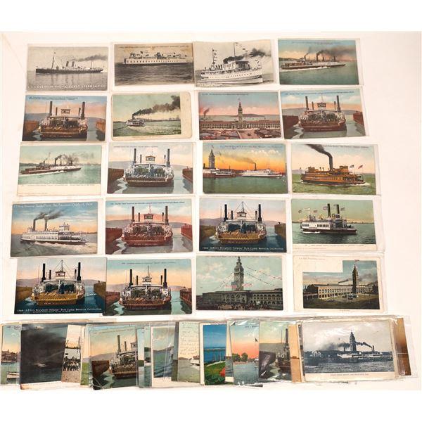 West Coast Ferry & Steamer Postcards, Group 2  (55)  [136062]