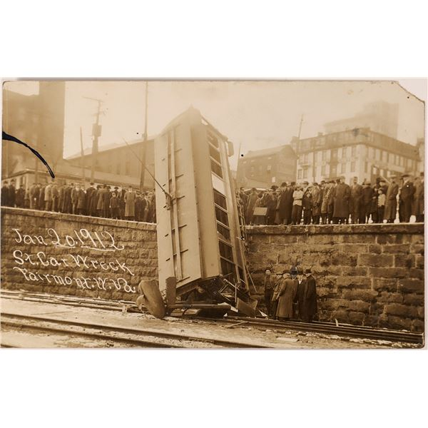 Street Car Wreck Real Photo Postcard  [133708]