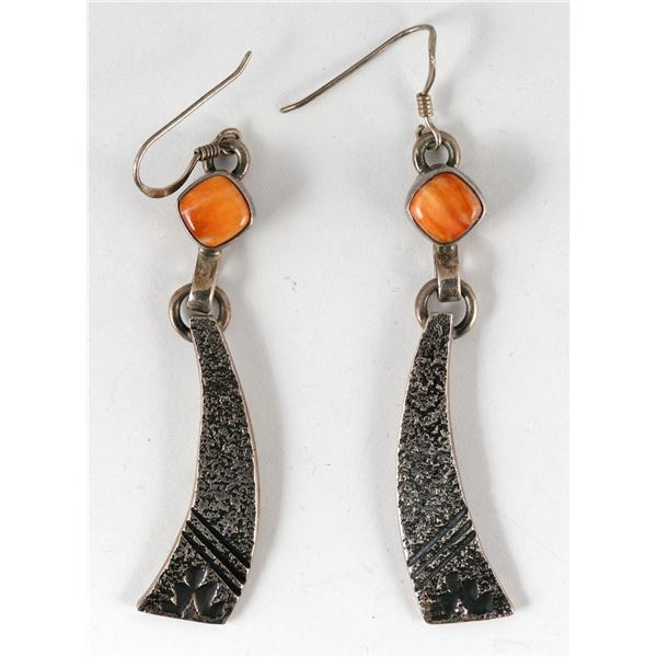 Coral and Silver Earrings  [136929]