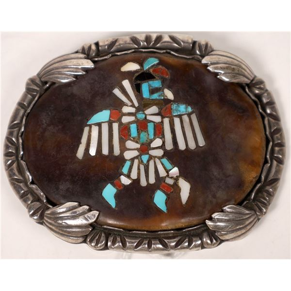 Eagle Dancer Chip Inlay in Tortoise Shell Belt Buckle  [136967]