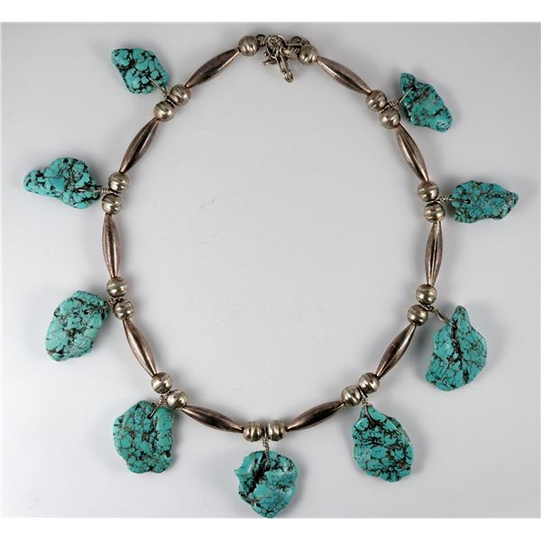 Silver and Turquoise Nugget Necklace  [137282]