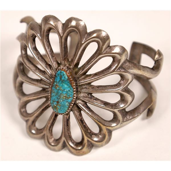 Silver/Turquoise Sandcast Cuff  [136974]